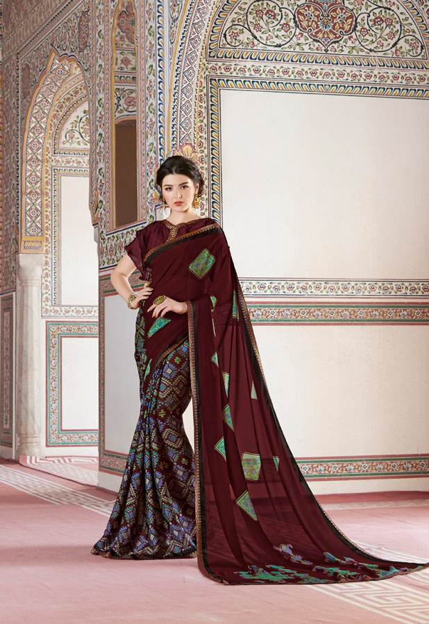 Shangrila Utophia 2 Printed Georgette Fancy Saree Saller collection 13